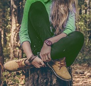 Woman in green outfit