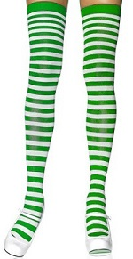 Striped green and white tights