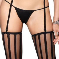 LA8209 Opaque striped G-String and Matching Stockings