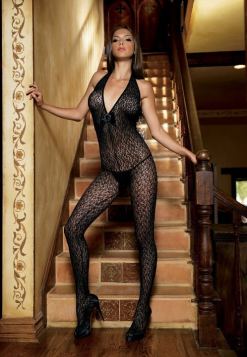 Patterned Halter Body Stocking LA8683