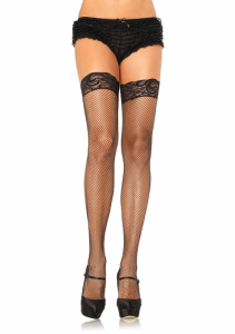 LA9122 Leg Avenue Black Lycra Fishnet Thigh Highs