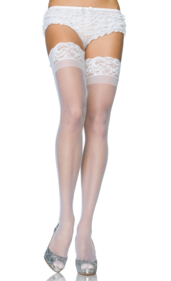 LA1022 Leg Avenue Sheer Thigh Highs with Stay Up Lace Top