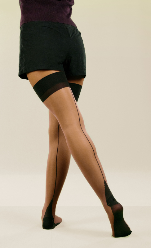 Leg Avenue Lycra Sheer Stockings With Backseam & Cuban Heel #LA1024
