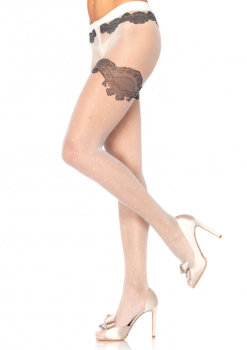 Leg Avenue LA1931 Sheer White Dot Pantyhose with Black Thigh High Detail