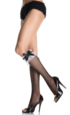 LA5583 Leg Avenue Lace Ruffle Fishnet Kneehigh
