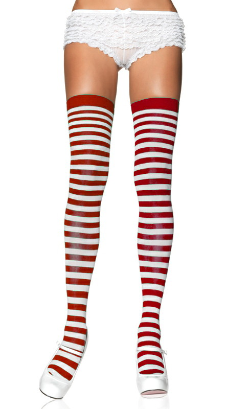 LA6005 Leg Avenue Nylon Red and White Striped Thigh Highs