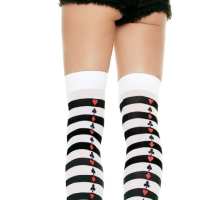 LA6305 Leg Avenue Thigh High Striped Stocking with Poker Backseam