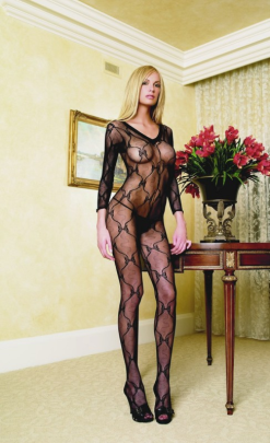 LA8045 Leg Avenue V-Neck Long Sleeved Bow Lace Body Stocking