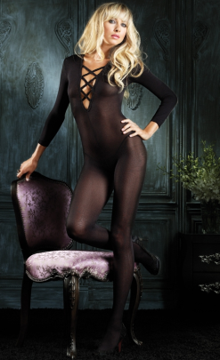 LA8614 Leg Avenue Sheer Bodystocking with Criss Cross Straps