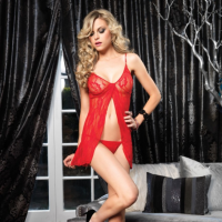 Leg Avenue LA8782 Red Lace Baby Doll and G-String