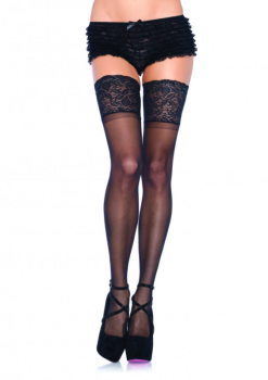 LA9750 Black Lace Topped Stay Up Thigh Highs