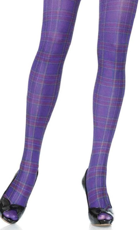 LA7726M Opaque Paper Print Plaid Tights For Men