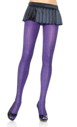 Leg Avenue Opaque Paper Print Plaid Tights LA7726