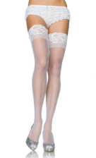 LA1022 White Leg Avenue Sheer Thigh Highs with Stay Up Lace Top