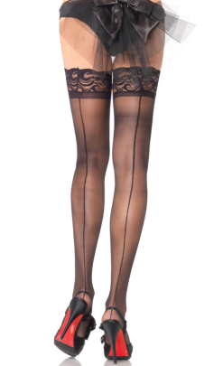 LA1042 Leg Avenue Sheer Stay Up Thigh Highs with Backseam
