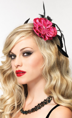LA1685 Leg Avenue Pink Flower Fascinator Hair Clip
