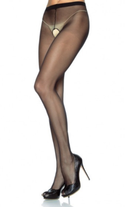 LA1905 Leg Avenue Nylon Sheer Black Crotchless Pantyhose