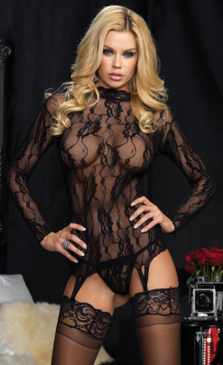 LA86524 Leg Avenue 2PC Long Sleeved Floral Lace Garter Top