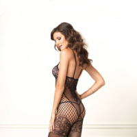 LA89136 Leg Avenue Seamless Dual Net Bodystocking With Lace Bodice and Garter Details