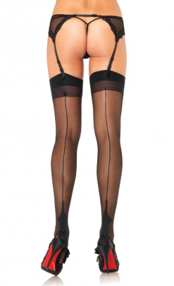 LA9213 Leg Avenue Cuban Heel Stockings with Backseam