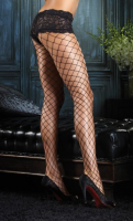 LA1278 Diamond Net Pantyhose with Lace Boy Short
