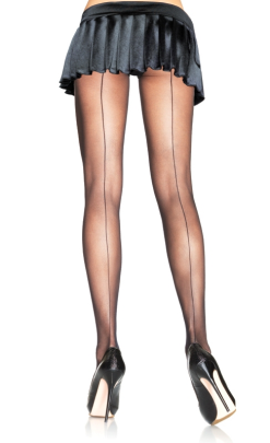 LA9002 Leg Avenue Black Sheer Back Seam Pantyhose