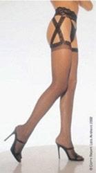 Criss Cross garter belt pantyhose