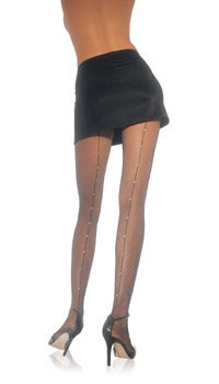 Rhinestone Back Seam Fishnet Pantyhose